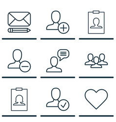 set of 9 communication icons includes remove user vector image vector image