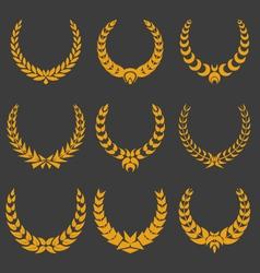 set of monochrome wreaths vector image