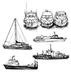 set of ships and boats vector image