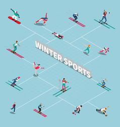 winter sportsmen isometric flowchart vector image vector image