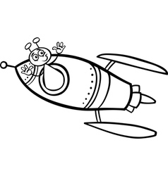 alien in rocket cartoon coloring page vector image vector image