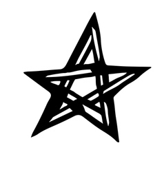 Artistic symbol of a star Black and white star Occ vector image