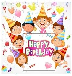 Birthday background with happy children vector image vector image