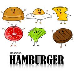cartoon of hamburger vector image
