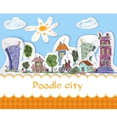 City doodle poster vector image