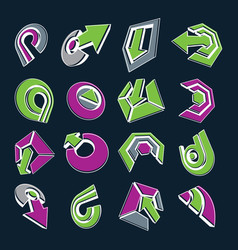 dimensional green and purple app buttons vector image