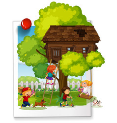 many kids playing at the treehouse vector image vector image