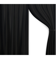 naturalistic image of curtain open curtains black vector image vector image