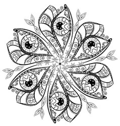 Ornament in the shape of a flower from black and vector image vector image