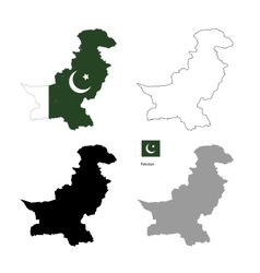 Pakistan country black silhouette and with flag on vector image vector image