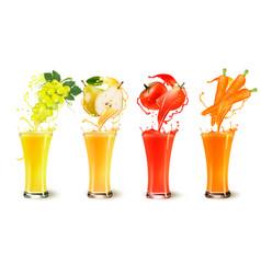 Set of fruit juice splash in a glass grapes vector