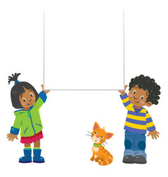 small boy and girl holding banner vector image vector image