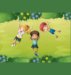 Three happy kids on green grass vector