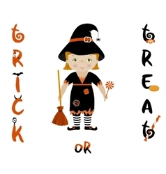 Trick or treat halloween card with cute witch vector image