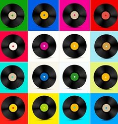 Vinyl Set Retro Colorful LP Disc Vinyl Record vector image vector image