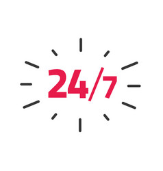24-7 service label 24 hours 7 days vector