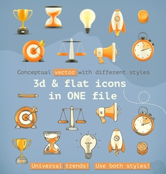 3d and flat set icons vector