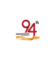 94 anniversary design logotype red color vector