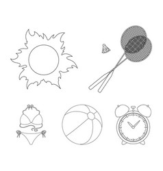 A game of badminton a ball and the sunsummer vector