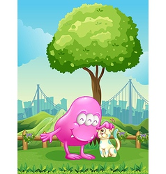 A pink monster and a monster cat near the tree vector