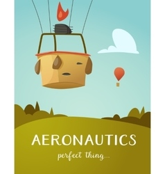 Aeronautics hot air balloon basket vector