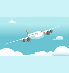 airplane in flight with white clouds and blue sky vector image