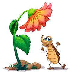 An ant dancing below the big flower vector