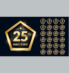 anniversary labels set in premium emblem style vector image
