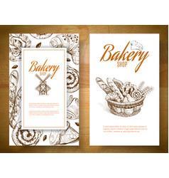 Bakery basket banner vector