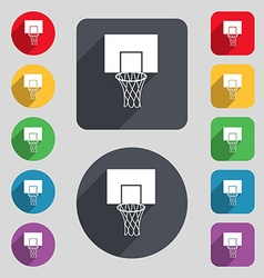 Basketball backboard icon sign A set of 12 colored vector image