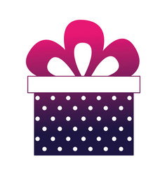 birthday dotted gift box bow celebration vector image