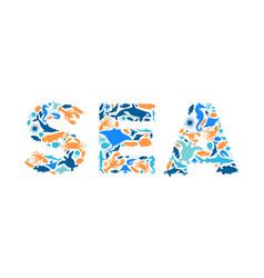 blue marine fish animal icon sea sign isolated vector image