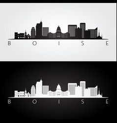 boise usa skyline and landmarks silhouette vector image