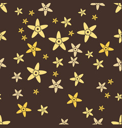 Brown seamless pattern with yellow vanilla vector