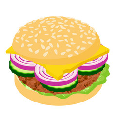 burger icon isometric 3d style vector image