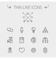 Business thin line icon set vector