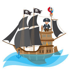 caricature with the image of a pirate on the ship vector image