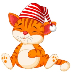 Cartoon cat sleeping vector image