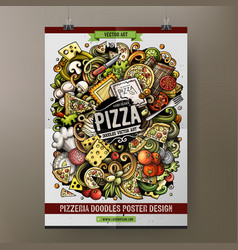Cartoon hand drawn doodles pizza poster template vector