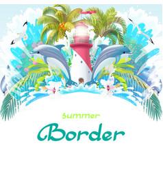 cartoon sea border background vector image