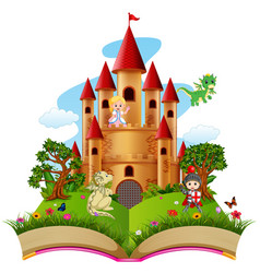 Castle with dragon and a knight in the storybook vector