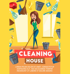 cleaning house service poster vector image
