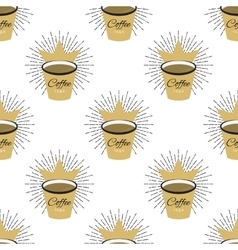 Coffee flavor hand drawn seamless pattern vector image