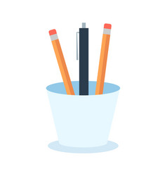 colored pencils in a glass for office flat vector image