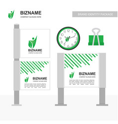 company advertisment banner with clock and clip vector image
