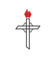Cross jesus christ and crown thorns vector