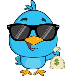 Cute Blue Bird with Money Cartoon vector
