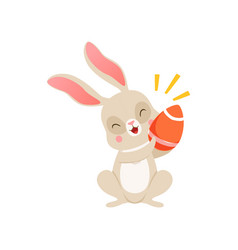 cute cartoon bunny with egg funny rabbit vector image