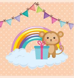 cute monkey with gift kawaii birthday card vector image