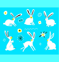 cute rabbits isolated on a blue background set vector image